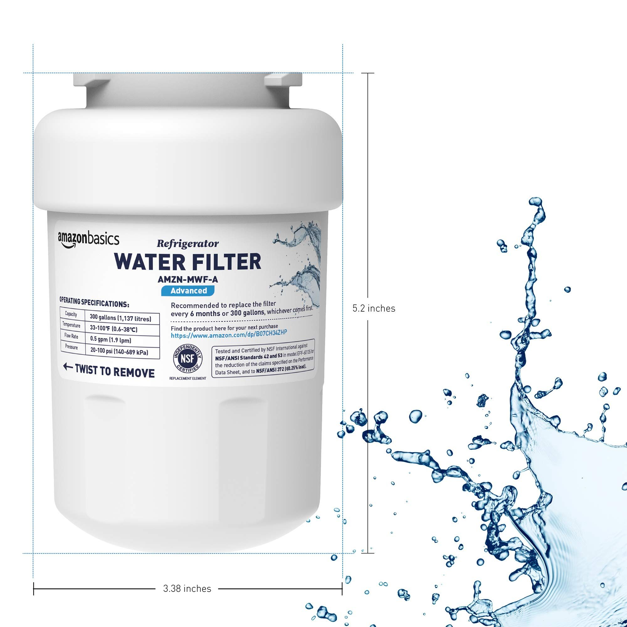 Amazonbasics replacement ge mwf refrigerator water filter