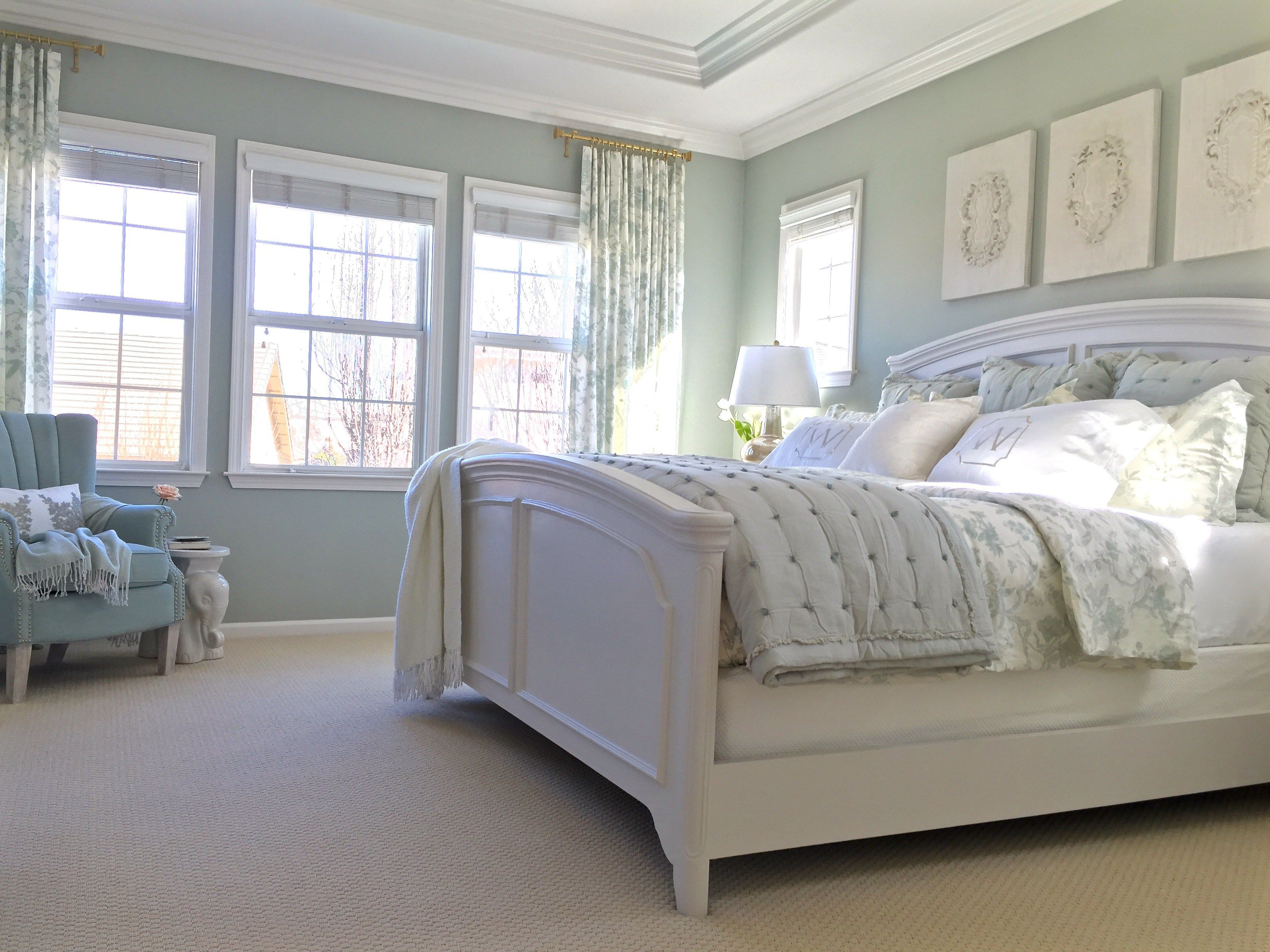 beautiful bedroom redo- dark furniture painted sw elder white with