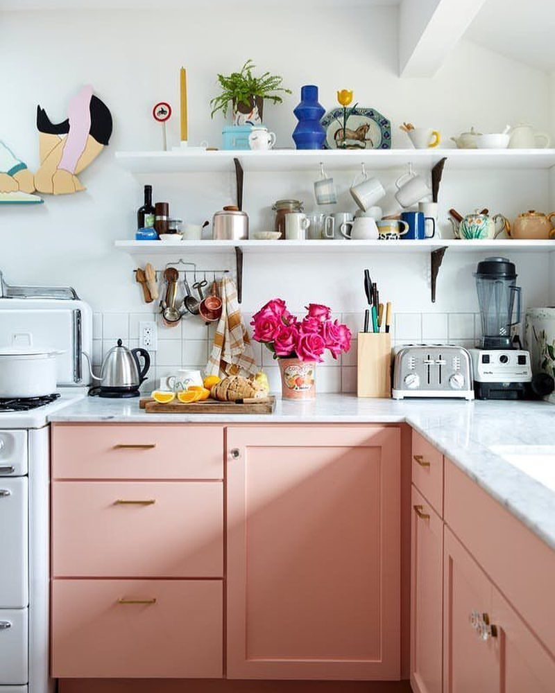 Would You Ever Go For A Pastel Shakeup In The Kitchen These Unconventional Cabinet Colors Pink Kitchen Cabinets Interior Design Kitchen Kitchen Cabinet Colors
