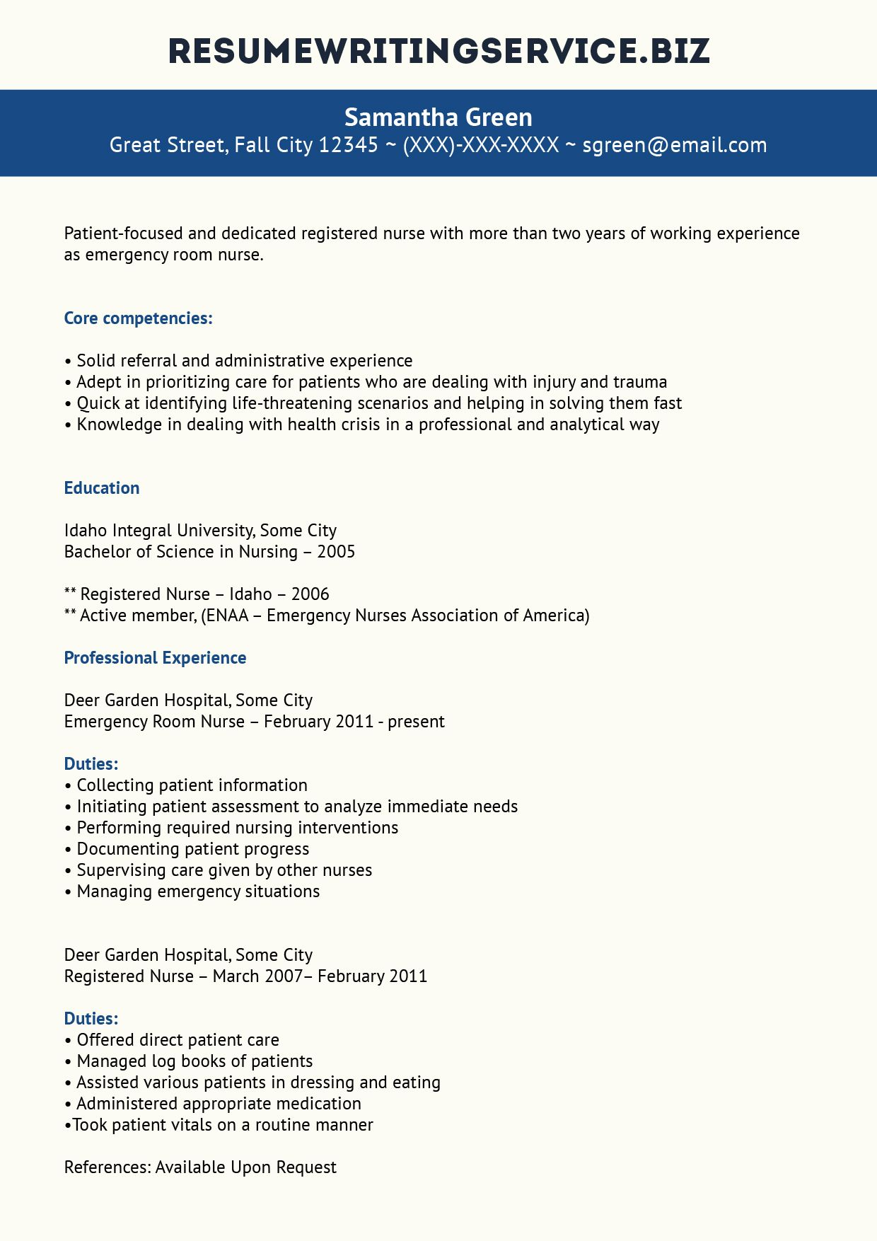 Er Nurse Resume Sample Emergency Room Nurse Nursing