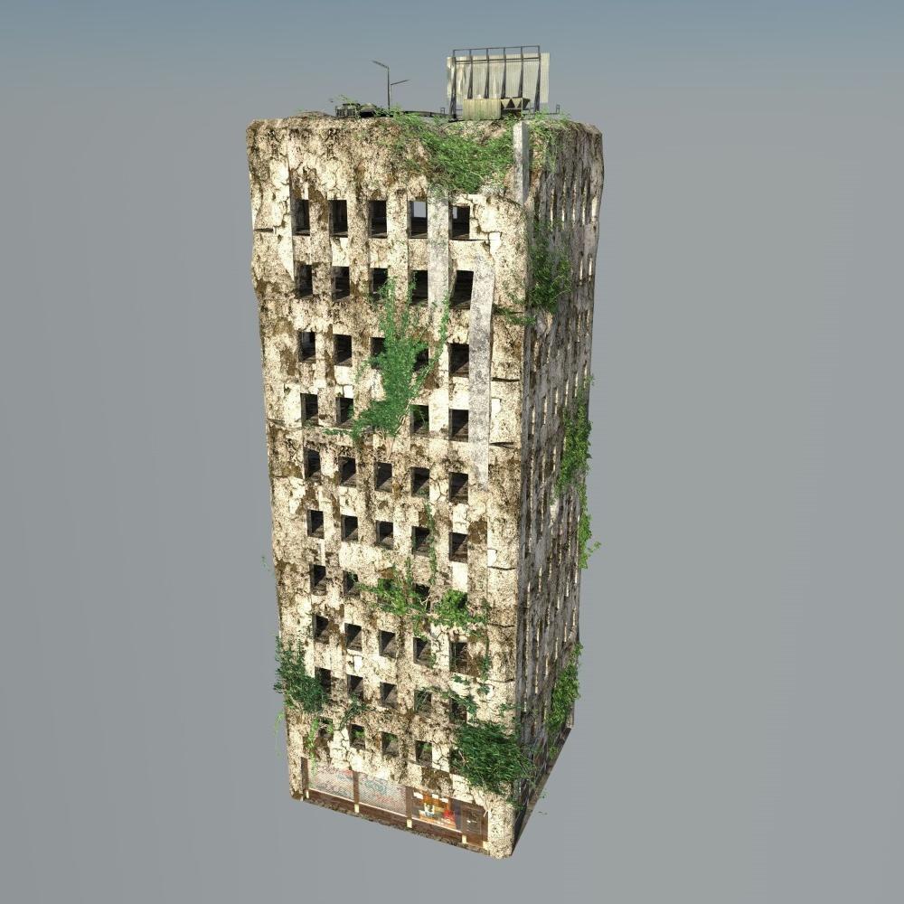 Destroyed Building Ruin 3d Model Building Ruins Destroyed