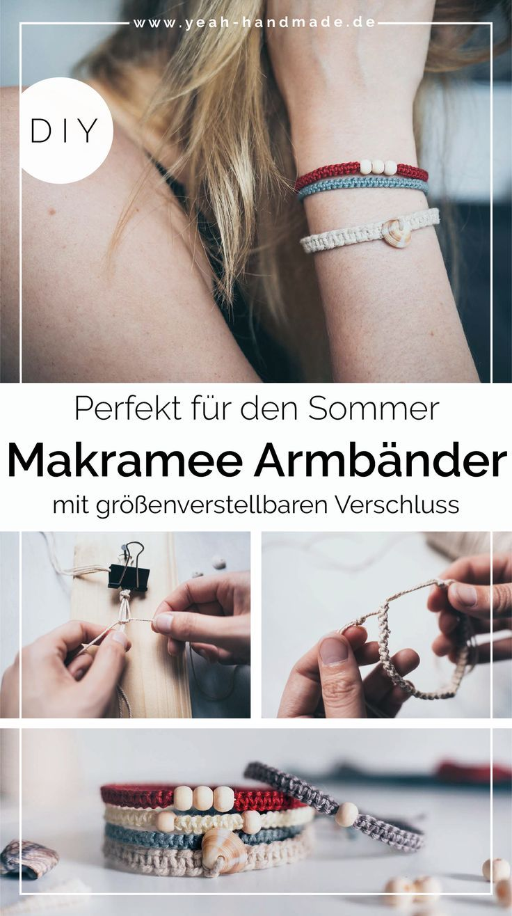 DIY Makramee Armband aus Kreuzknoten mit Muscheln und Perlen • Yeah Handmade