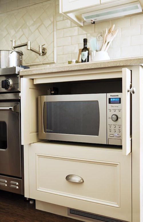 Kitchen design: ideas for hiding the microwave. -
