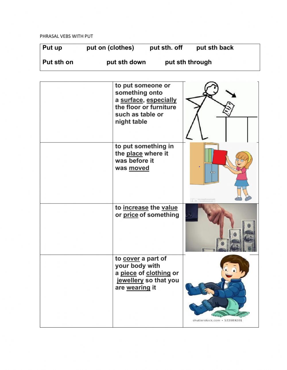 Phrasal Verbs Put Interactive Worksheet Common And Proper Nouns Subject And Verb Verb [ 1291 x 1000 Pixel ]