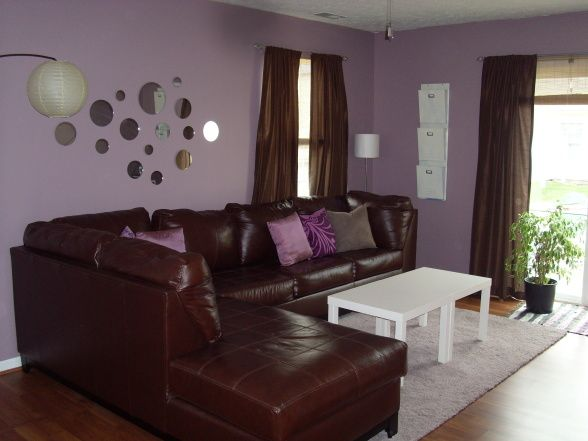 Ikea Brown Purple Retro Living Room My Purple Living Room On A Budget I Bought The Mirrors A Purple Living Room Brown Living Room Grey And Brown Living Room