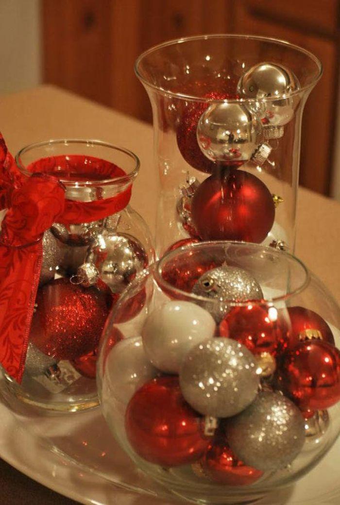 gl ser weihnachtlich dekorieren bunte kugeln in rot wei. Black Bedroom Furniture Sets. Home Design Ideas