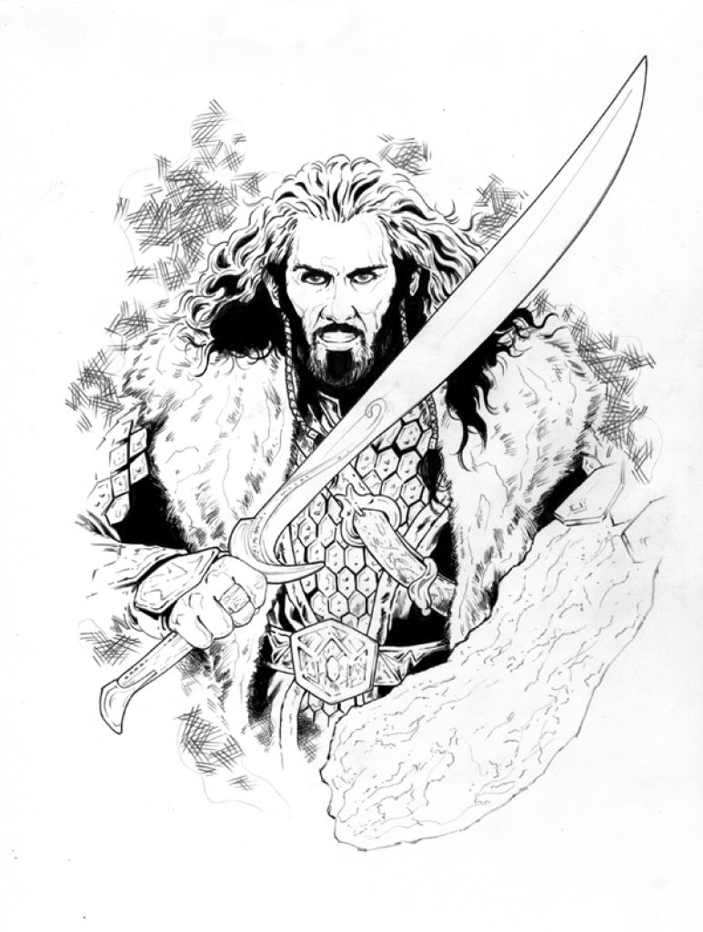 thorin and his wooden shield in printable the hobbit coloring page