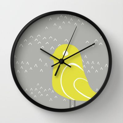 Bird on tussocks Wall Clock by Cecilia Andersson - $30.00