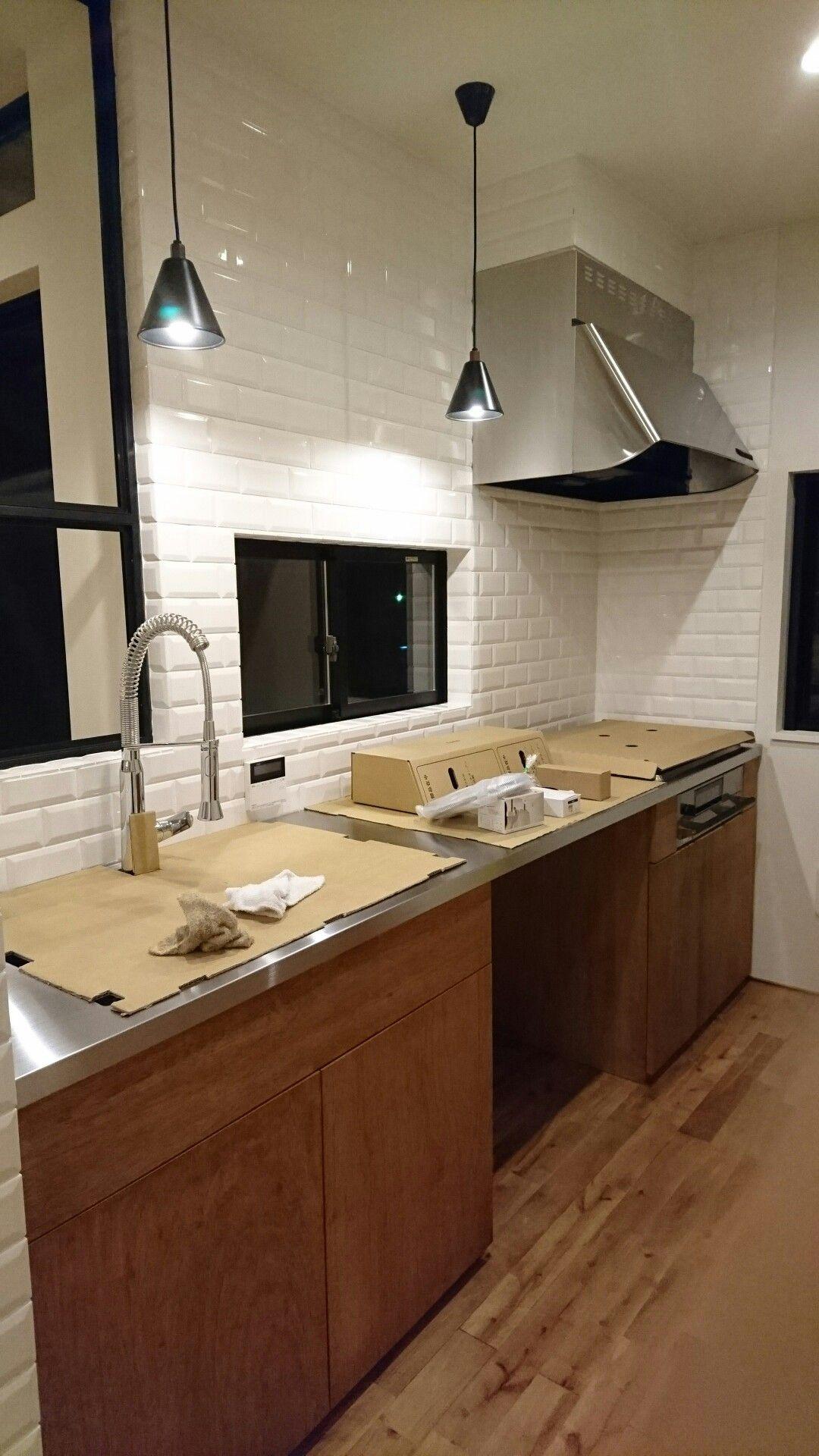 キッチン タイル貼り ステンレス天板 キッチン タイル 貼り 家
