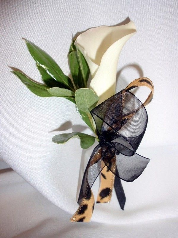 White Calla Lily With Leopard Print Corsage And Boutonniere