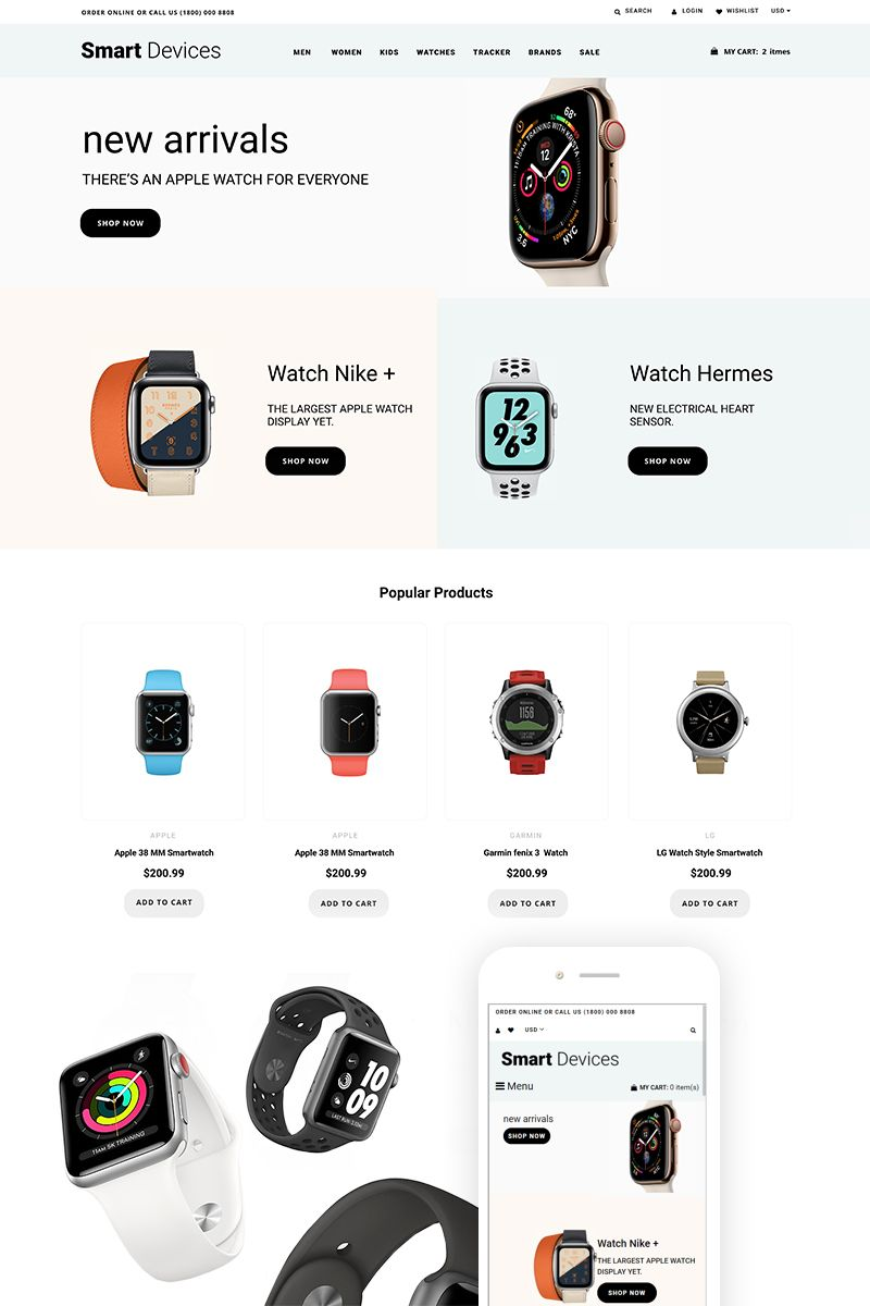 Smart Devices - Smartwatches And Trackers Shopify Theme #74200 #smartdevice