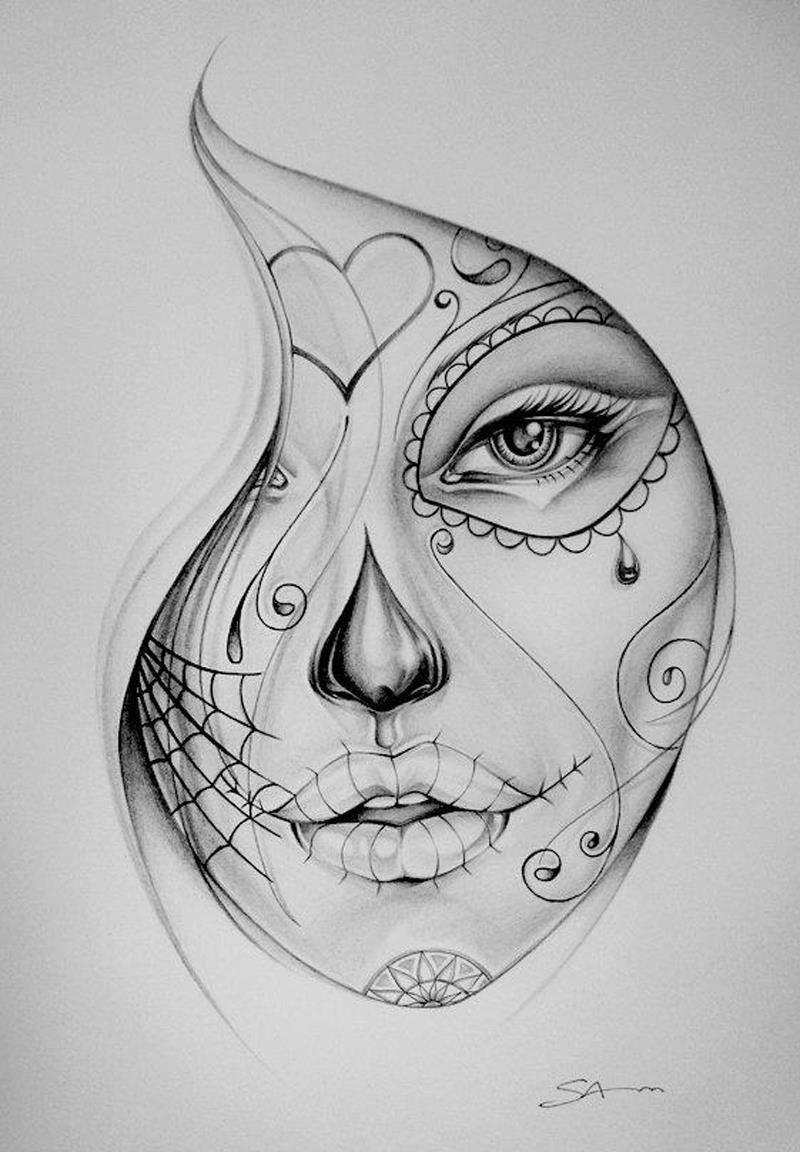 Cara Dia De Muertos Tatoo Skitse Tatovering Inspiration Y