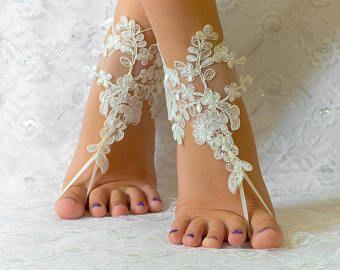 Ivory Gold Frame Pearl Beaded Beach Wedding Barefoot Sandals