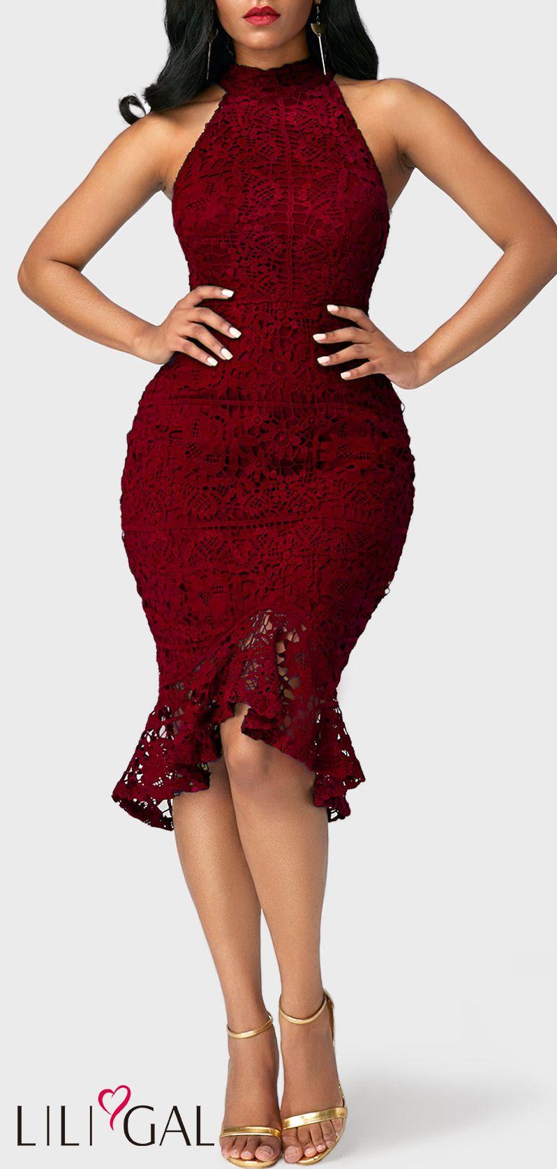 c632c6f3c93 Sleeveless Mock Neck Burgundy Lace Mermaid Bridesmaid Dress  liligal   dresses  womenswear  womensfashion