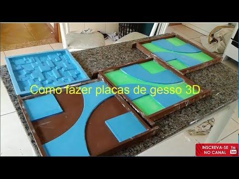 Como fazer placas de gesso 3D em formas de E.V.A e Silicone - YouTube