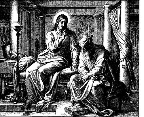 """a Pharisee named Nicodemus came to Jesus at night and said to him, """"Rabbi, we know that you are a teacher who has come from God ..."""""""