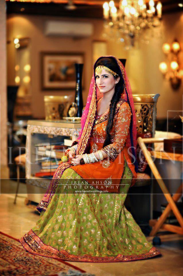Pakistani Bride, Mehndi outfit | green lehenga with orange shirt n ...