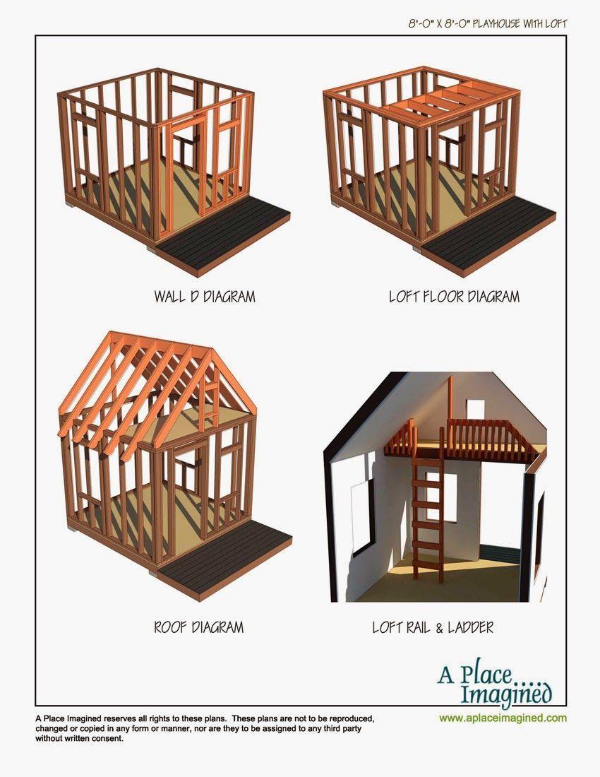 8x8 Bedroom Design: 8'x8' Playhouse With Loft Plans