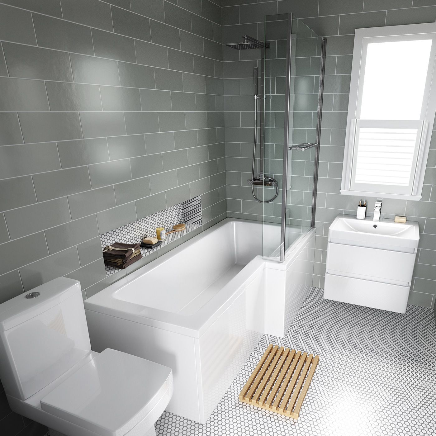 1500mm Left Hand L-Shaped Bath with Screen, rail & front ...