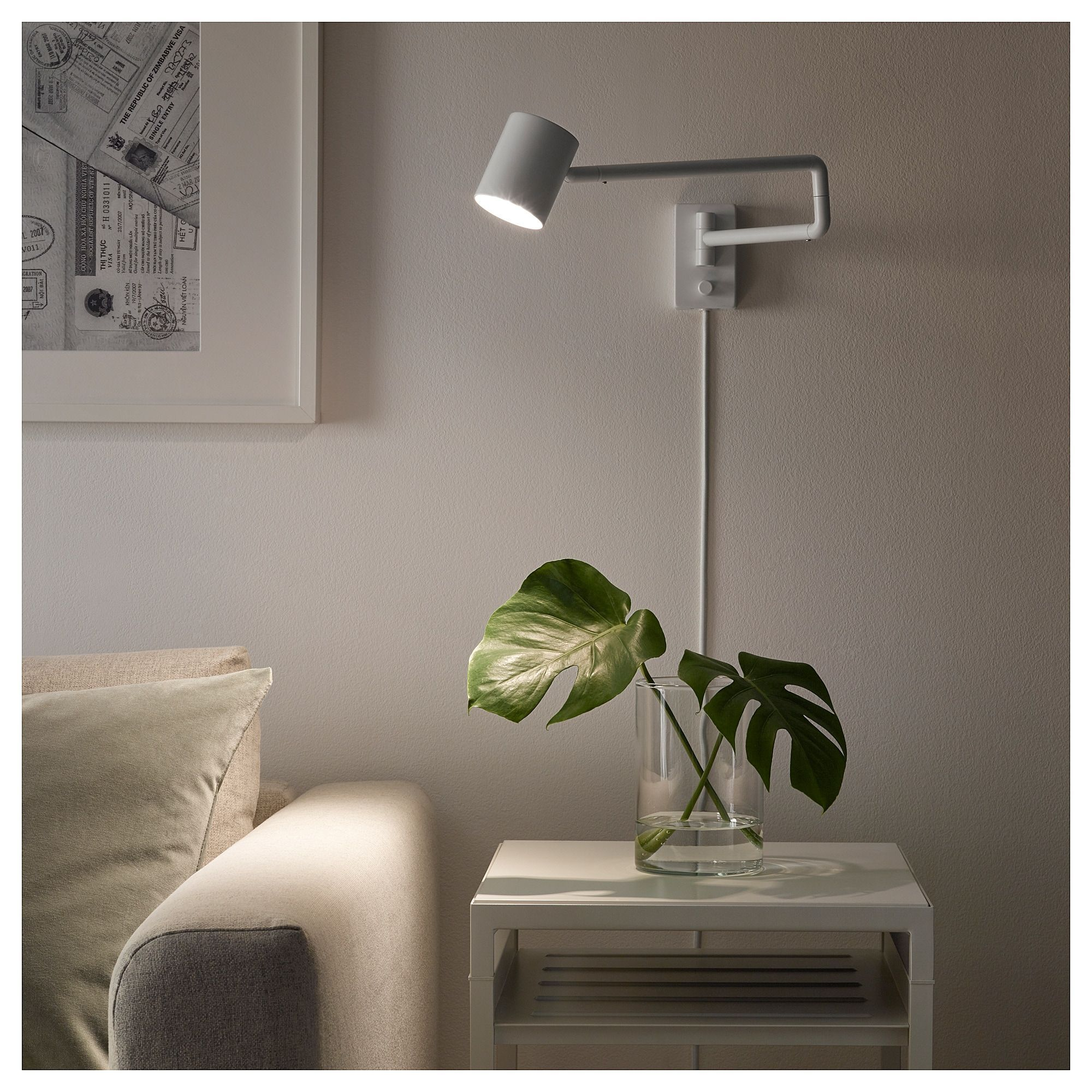 Nymane Wall Lamp With Swing Arm Led Bulb White Ikea Wall Lamp Wall Lamps Living Room Wall Lights Living Room