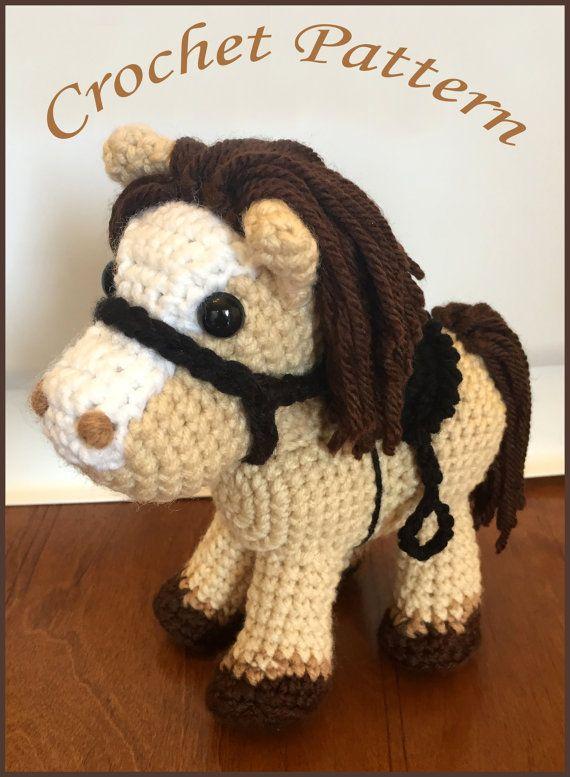 Jack el Pony PDF ganchillo patrón Amigurumi caballo y silla Cowboy ...