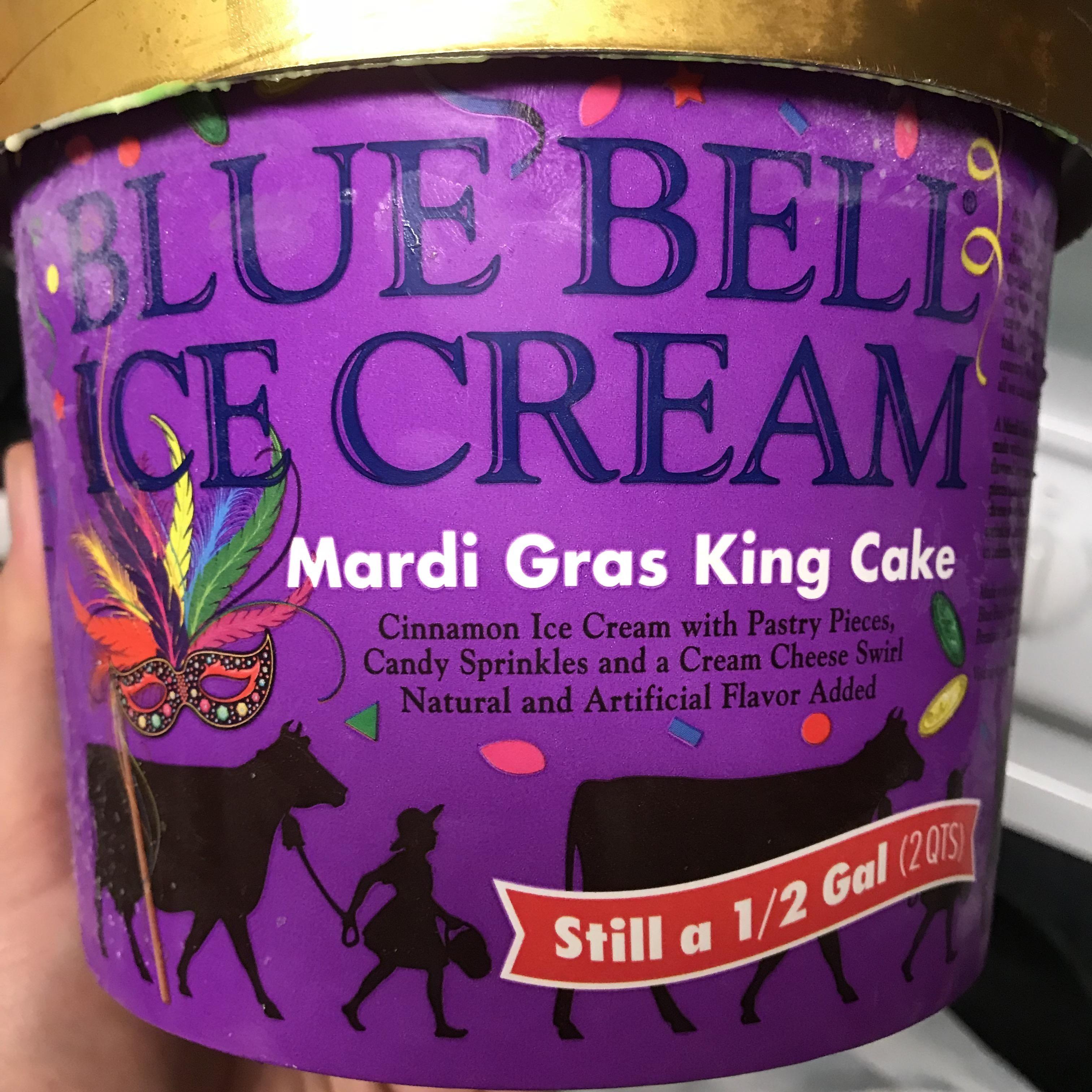 Blue bell makes seasonal mardi gras themed ice cream