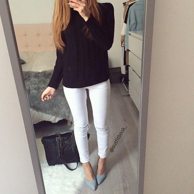 Ces escarpins pastel apporte du peps à la tenue 👌 Pull,Jeans,Escapins,Sac  👉 outfitbook.fr
