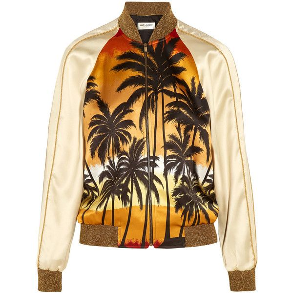 Saint Laurent Printed satin bomber jacket (€2.375) ❤ liked on Polyvore featuring outerwear, jackets, saint laurent, coats, coats & jackets, yves saint laurent, flight jacket, bomber jacket, orange jacket and brown bomber jacket