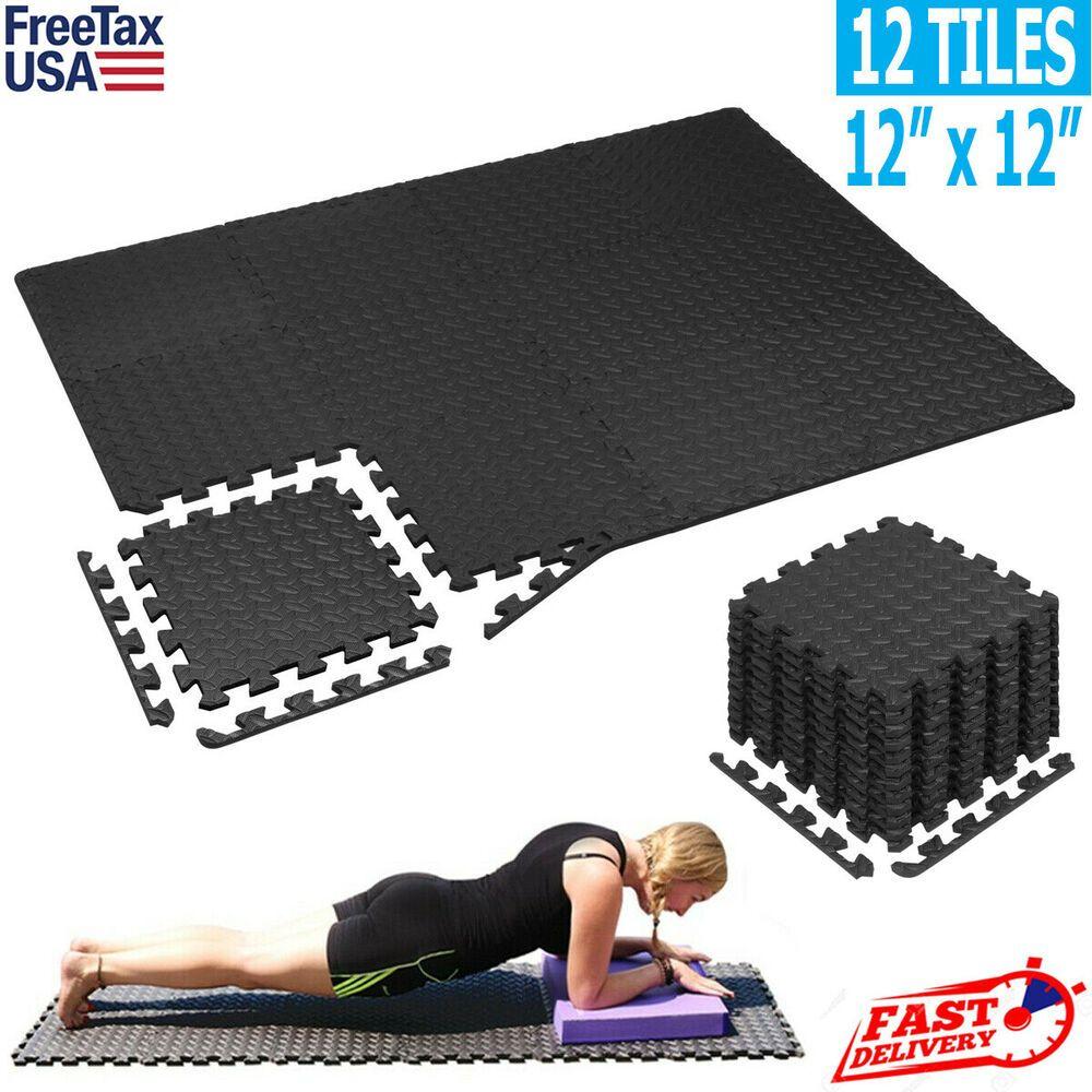 Exercise Floor Mat Fitness Foam Mats Tiles Puzzle Rug Pad