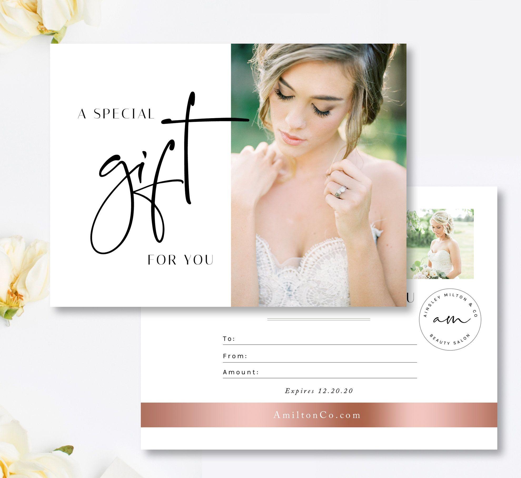 Salon Gift Card Template Gift Certificate Template Bridal Makeup Artist Gift Card S Salon Gift Card Photography Gift Certificate Template Gift Card Template