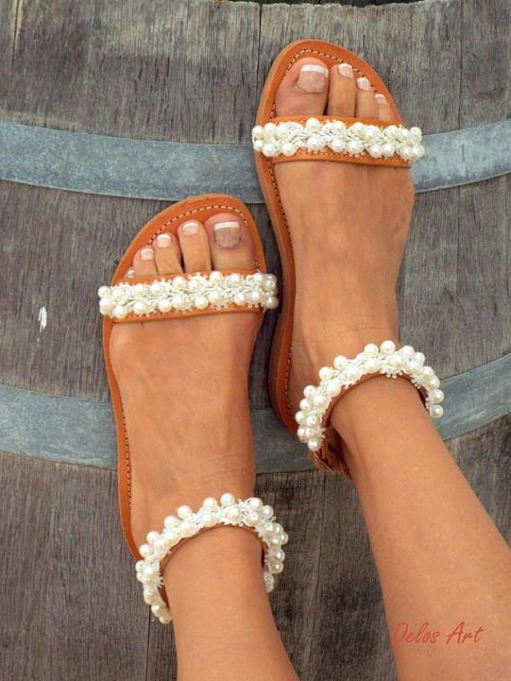 67751a66d5757 Bridal sandals White Beach Wedding Sandals shining