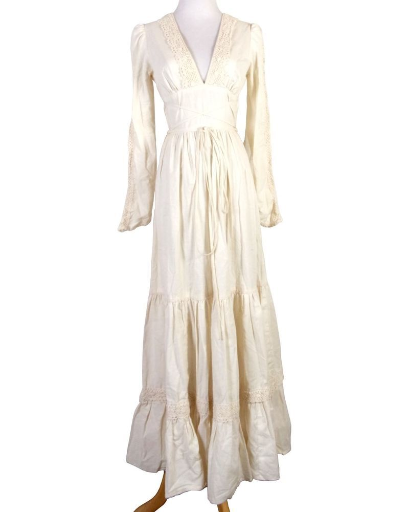 Vtg s bill berman corset cotton prairie maxi dress victorian boho