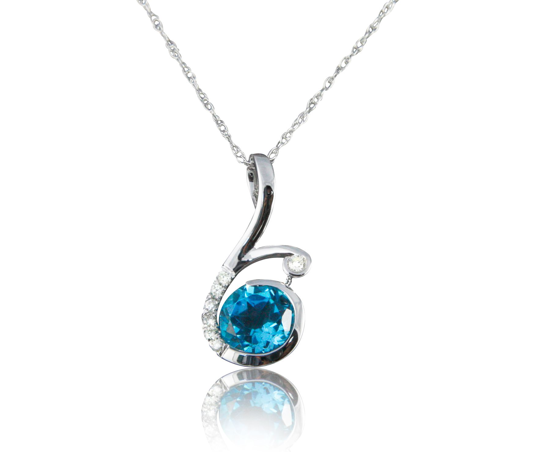 Feel as stunning as you'll look in this dazzling .95 carat blue topaz 18″ necklace with round brilliant diamond accents set in 14 karat white gold. The vibrant color of the mesmerizing blue topaz gem is sure to highlight any outfit.