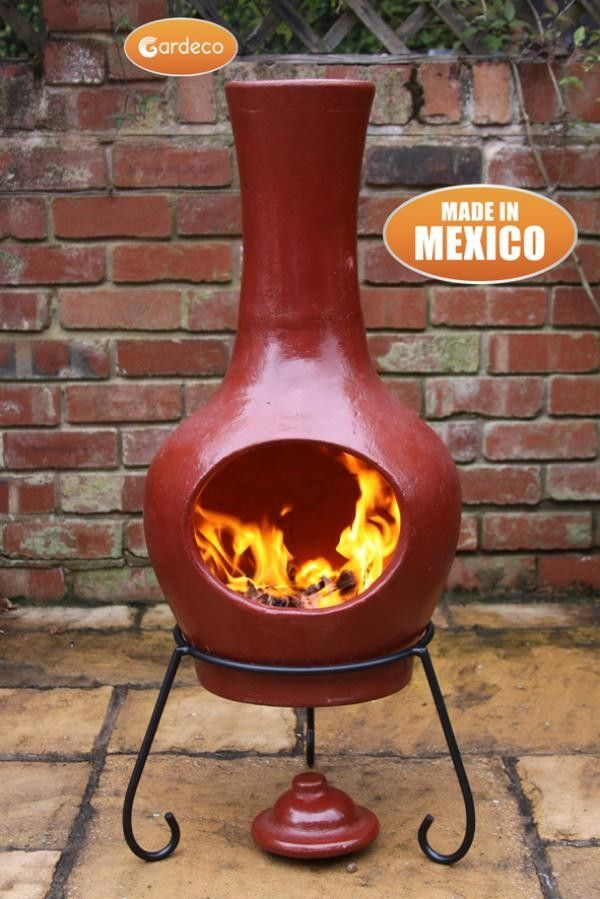 Sybele Clay Chiminea Cranberry Large Clay Chiminea Chiminea Fire Pit Chiminea