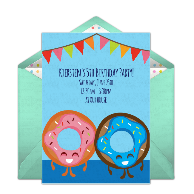Love This Free Birthday Party Invitation With A Cute Donut Design Fun Way To Invite Friends Shopkins Or Dessert Themed