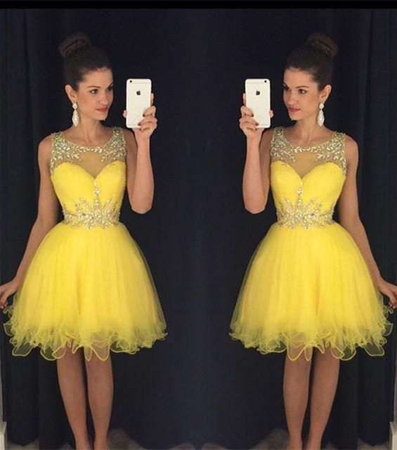 4d4b2c57872 Cheap Homecoming Dresses 2016 Party Dresses Knee Length Sheer Ball Gowns  Short Puffy Semi Prom Dresses With Crystals Homecoming Dress Styles  Homecoming ...