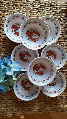 8 Lobster Butter Melamine Bowls Dipping Seafood Crab Sauce Beach Cottage & 8 Lobster Butter Melamine Bowls Dipping Seafood Crab Sauce Beach ...