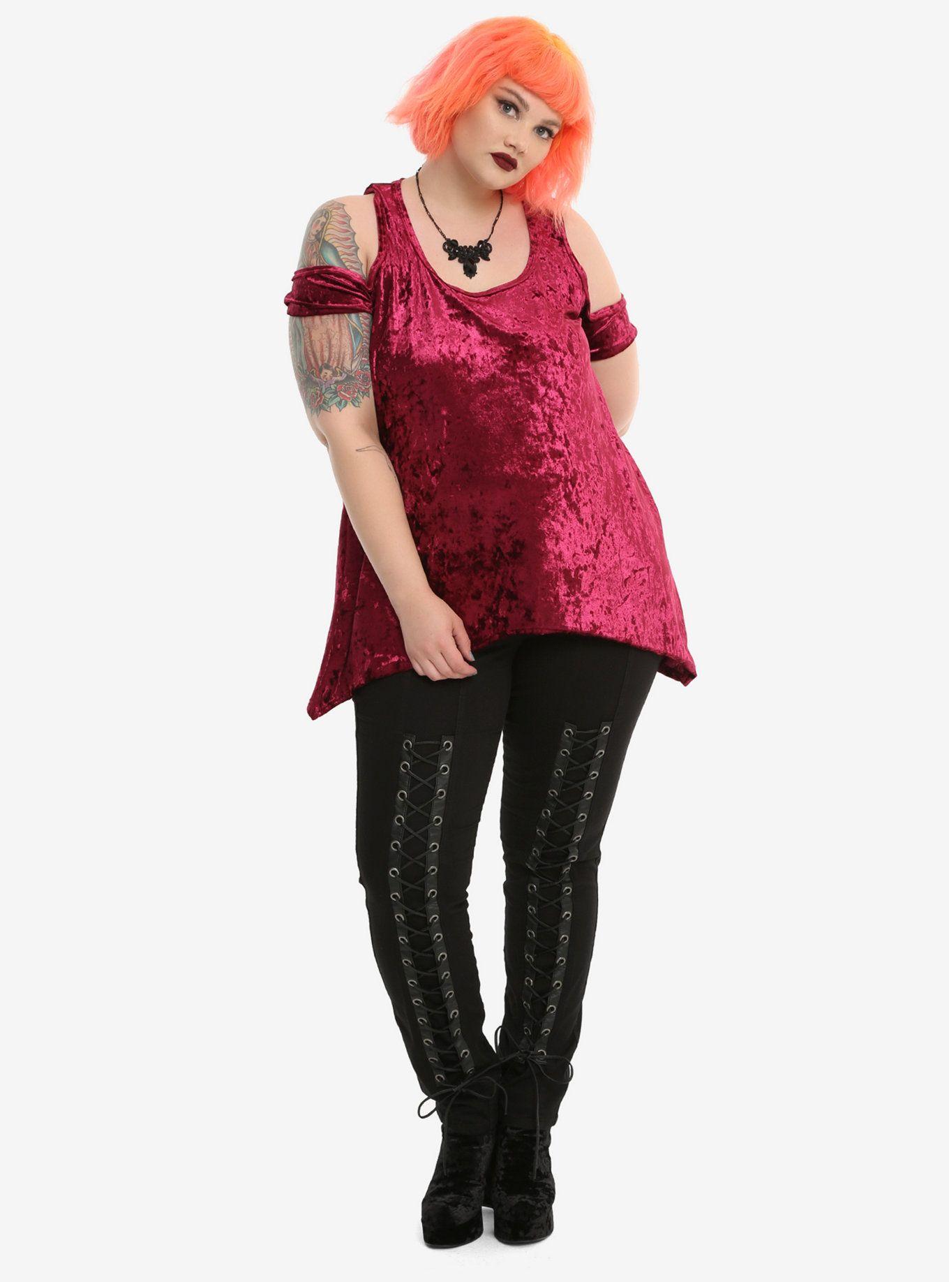 4d571a4e55798c Burgundy Crushed Velvet Girls Cold Shoulder Top Plus Size