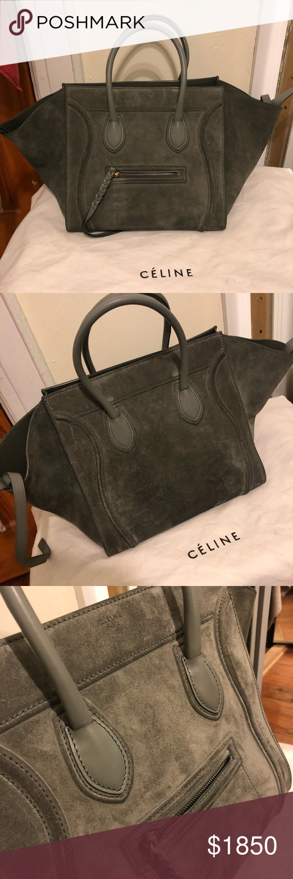 0c6b328f78 Authentic Celine Phantom Luggage Grey Tote Very good condition. Beautiful  grey suede