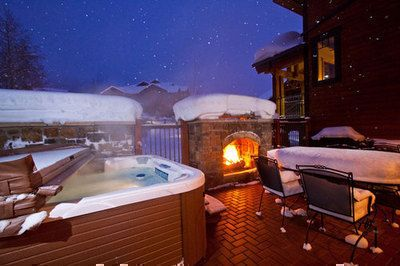 Imagine Being Greeted By A Warm Fire And A Hot Tub After A Long