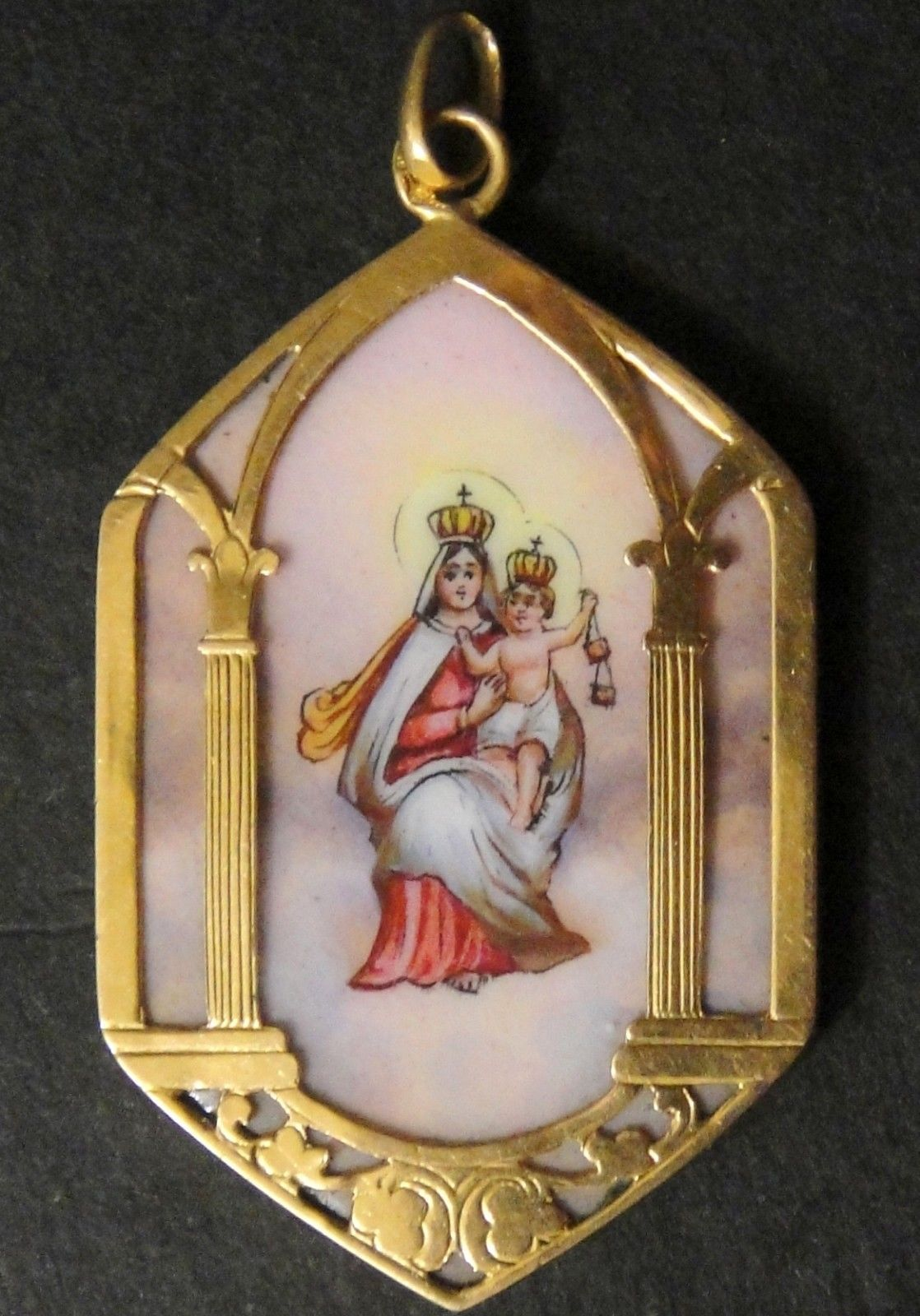 Beautiful Gorgeous Huge French Antique Gold 18K Enamel Porcelain Religious  GM86