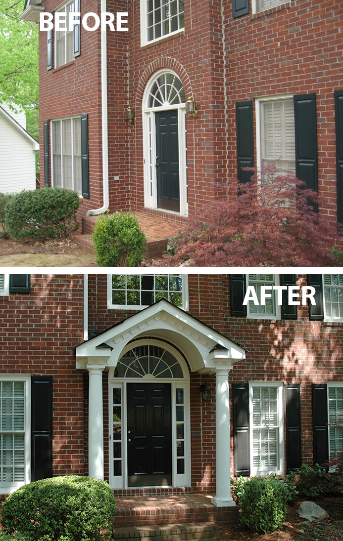 Portico With Faux Balcony Designed And Built By Georgia: Flat Faced Traditional Brick Home Has Instant Curb Appeal