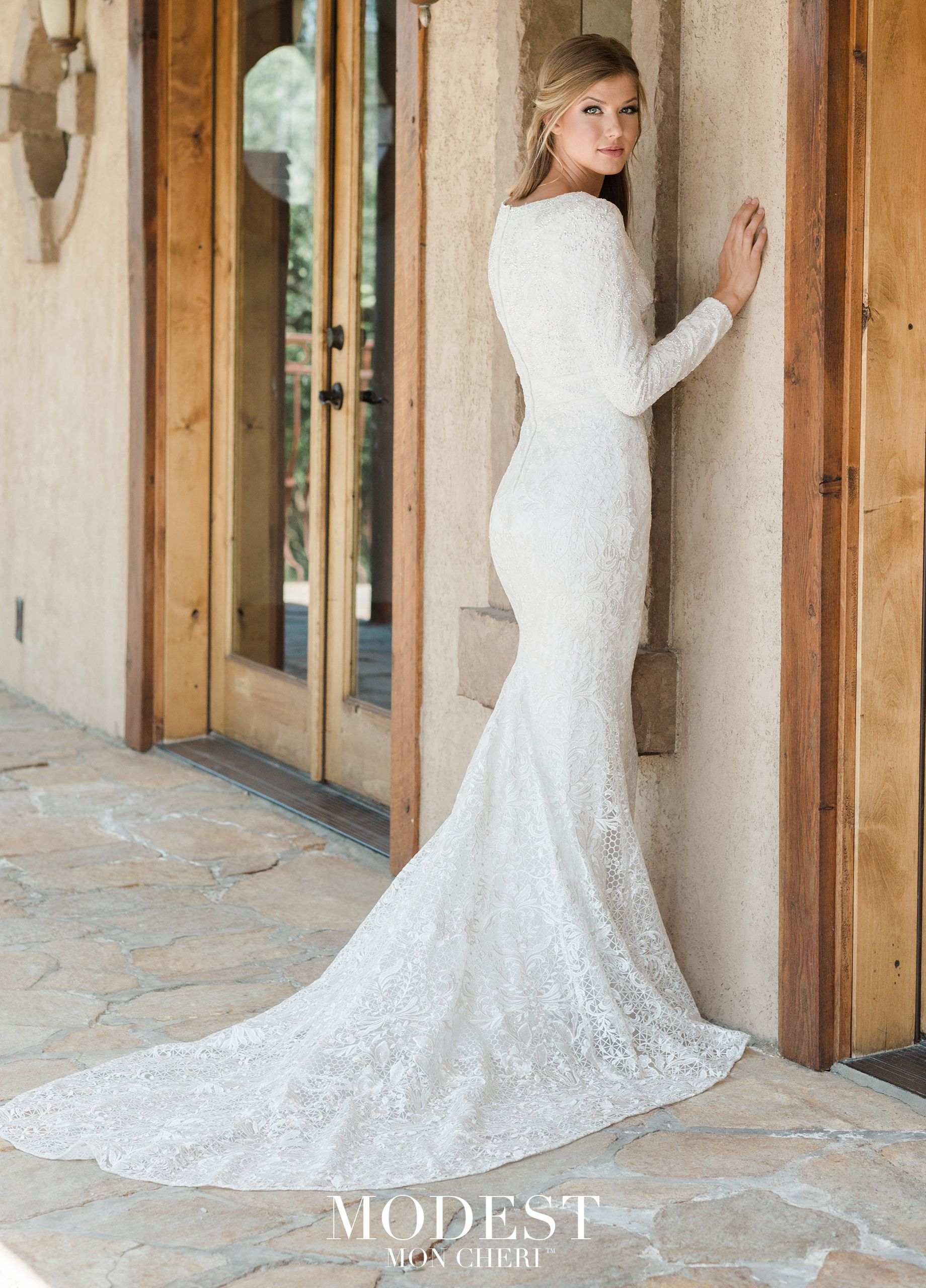 Modest By Mon Cheri Tr11987 Mon Cheri Bridals Modest Wedding Dresses Petite Wedding Dress Fitted Wedding Dress [ 2560 x 1840 Pixel ]