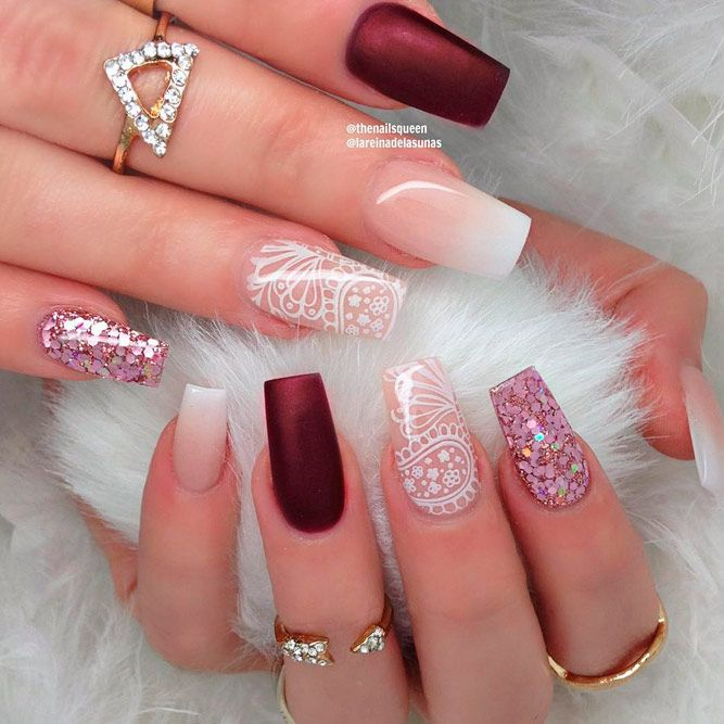 cool coffin shape nails design