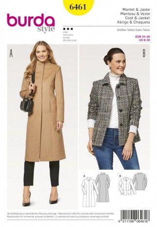 Burda Ladies Sewing Pattern 6461 Coat & Jacket | Sewing