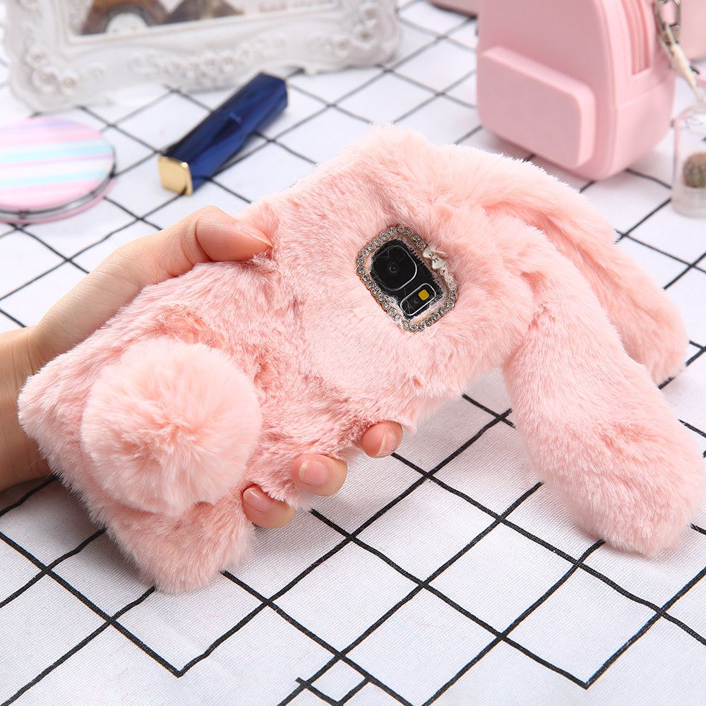 31b19c2e95 S8 Plus 3D Cute Soft Fluffy Rabbit Warm Fur Case For Samsung Galaxy ...