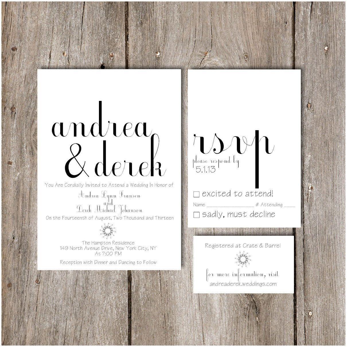 Simple Chic Script Wedding Invitation Package