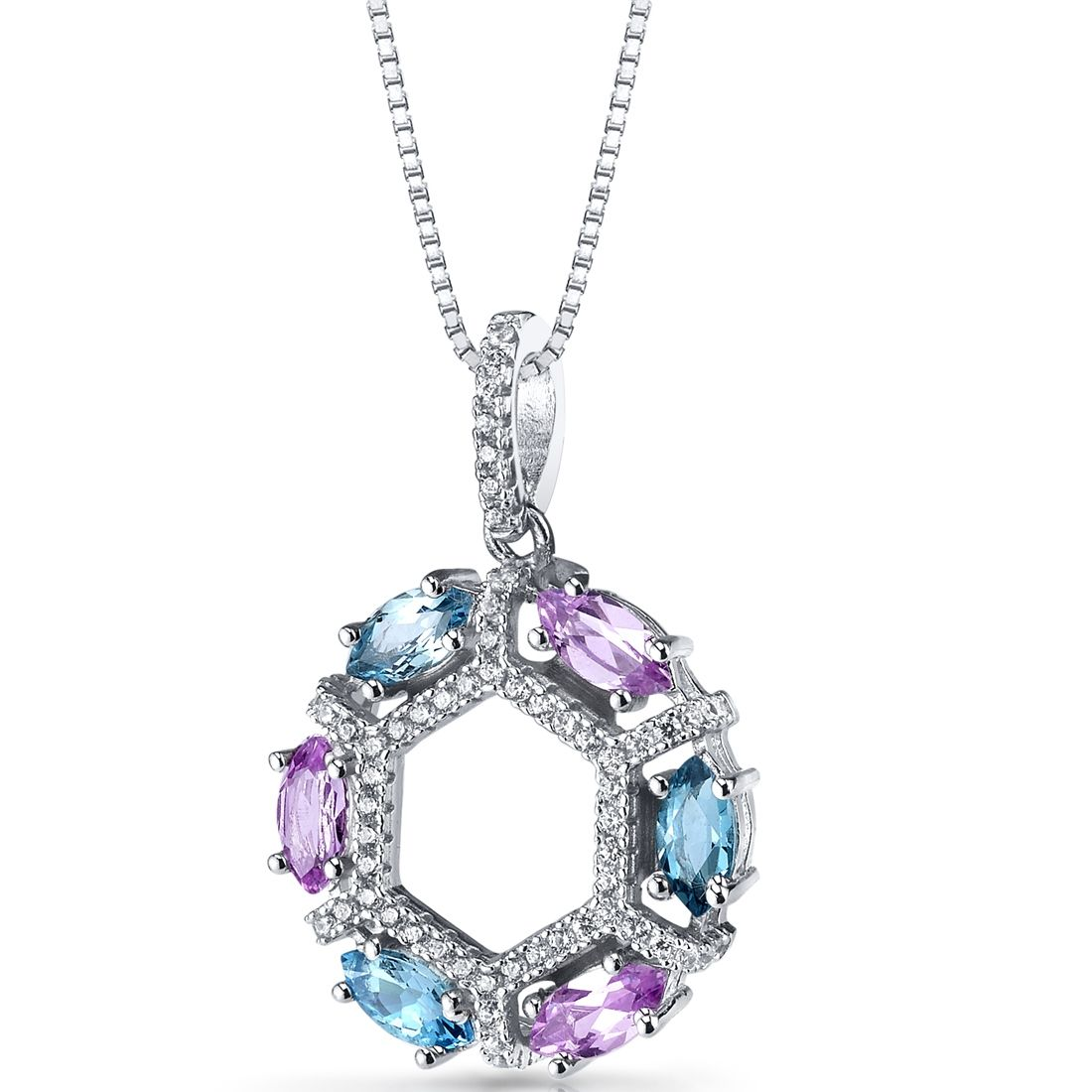 MSRP: $199.99  Our Price: 99.99  Savings: 100.00    Item Number: SP11236    Availability: Usually Ships in 5 Business Days    PRODUCT DESCRIPTION:    Crafted in Fine Sterling Silver, this beautiful pendant for her features Genuine Swiss Blue Topaz and Lab