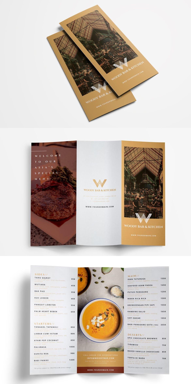 restaurant menu trifold adobe indesign pricing brochure menu