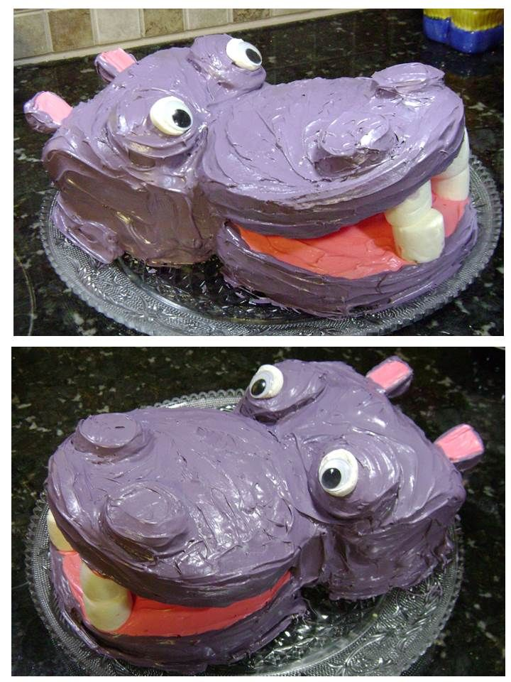 Fabulous Happy Hippo Birthday Cake For Hungry Hungry Kids I Used Two 8 Personalised Birthday Cards Akebfashionlily Jamesorg